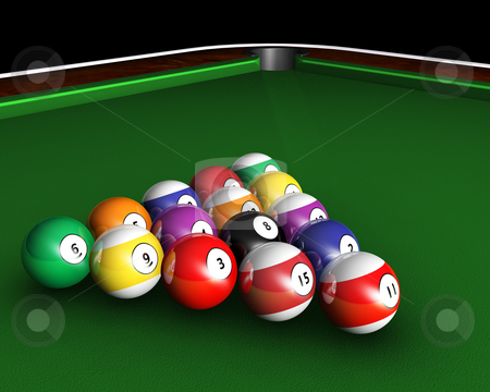 Pool table stock photo, 3D render of pool balls on a pool table by Kirsty Pargeter