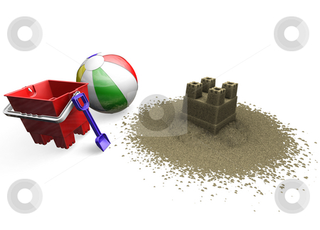 Sandcastle with beach ball, bucket and spade stock photo, 3D render of a sandcastle, beach ball, bucket and spade by Kirsty Pargeter