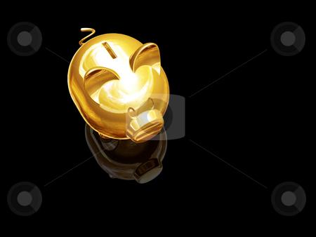 Piggy bank stock photo, 3D render of a gold piggy bank by Kirsty Pargeter