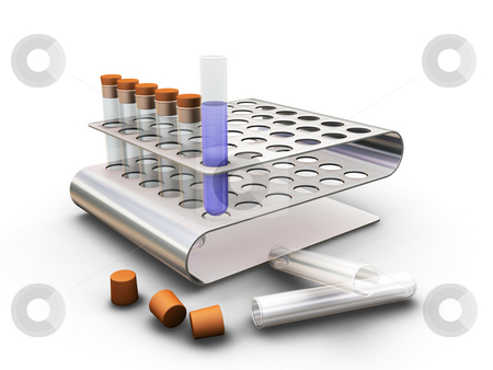 Test tubes stock photo, 3D render of test tubes by Kirsty Pargeter