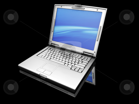 Laptop stock photo, 3D render of a titanium laptop on a black background by Kirsty Pargeter