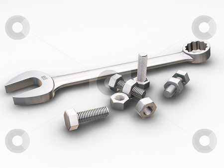 Spanner, nuts and bolts stock photo, 3D render of a spanner, nuts and bolts by Kirsty Pargeter