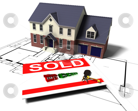 House on blueprints stock photo, 3D render of a house on blue prints with sold sign and keys by Kirsty Pargeter