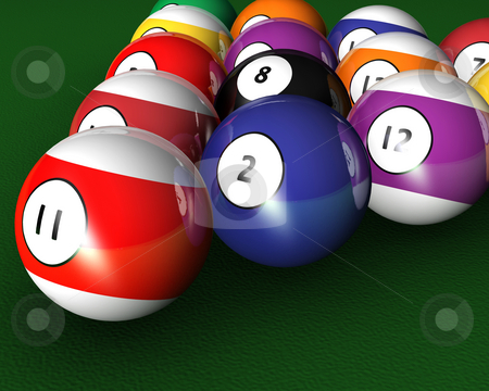 Pool balls stock photo, 3D render of pool balls on a pool table by Kirsty Pargeter