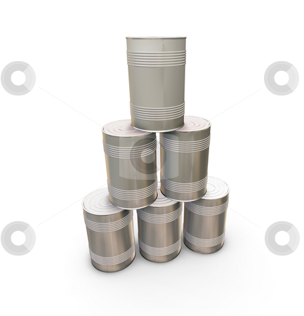 Stack of tin cans stock photo, 3D render of a stack of tin cans by Kirsty Pargeter