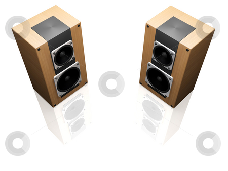 Speakers stock photo, 3D render of speakers isolated on white background by Kirsty Pargeter