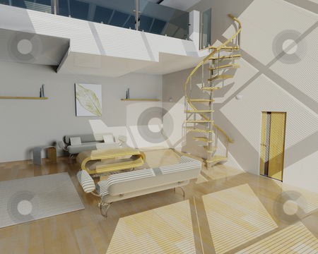Contemporary lounge stock photo, 3D render of a contemporary lounge by Kirsty Pargeter