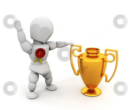 Winner stock photo, 3D render of a person holding a first prize trophy by Kirsty Pargeter