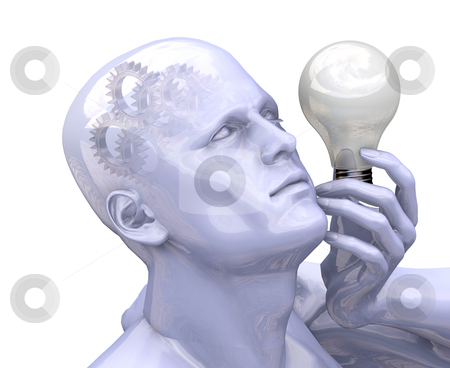 Bright idea stock photo, 3D render of a man with a lightbulb and gears working in his head by Kirsty Pargeter