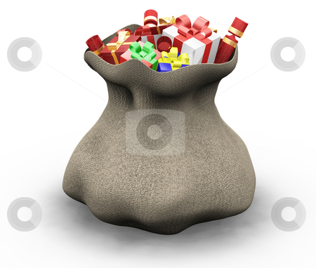 Sack of gifts stock photo, 3D render of a sack of gifts by Kirsty Pargeter