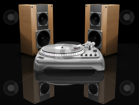 Turntable and speakers stock photo, 3D render of a turntable and speakers by Kirsty Pargeter