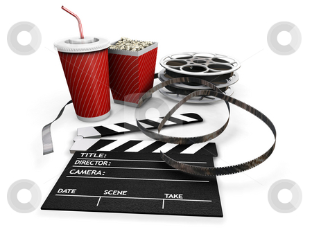 Movie night stock photo, 3D render of all things needed for a movie night by Kirsty Pargeter