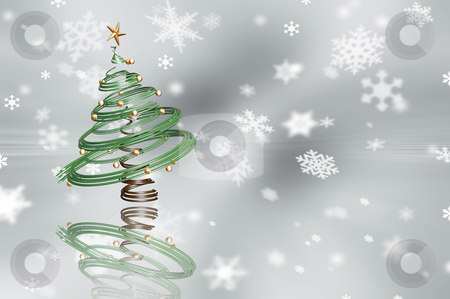 Christmas tree stock photo, 3D render of a Christmas tree on a snowflake background by Kirsty Pargeter