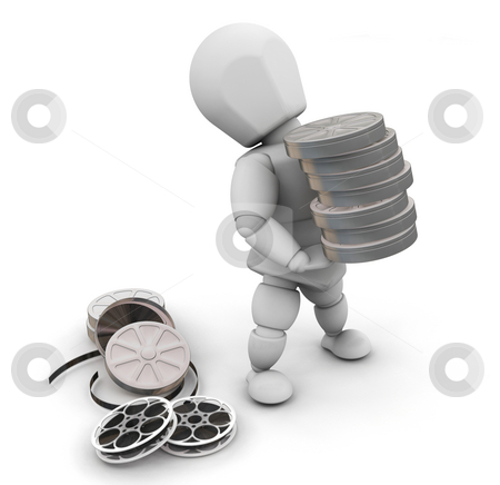 Movie person stock photo, 3D render of someone with film reels by Kirsty Pargeter