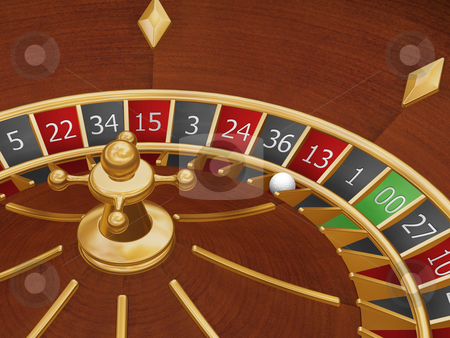 Unlucky thirteen stock photo, Roulette wheel with the ball on number thirteen by Kirsty Pargeter