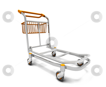 Luggage trolley stock photo, 3D render of a luggage trolley by Kirsty Pargeter