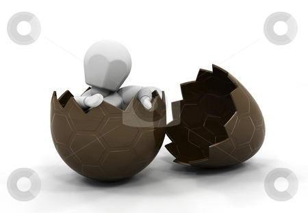 Person inside Easter egg stock photo, 3D render of someone inside a chocolate Easter egg by Kirsty Pargeter