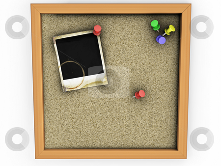 Cork board stock photo, 3D render of a cork board with grunge polaroid by Kirsty Pargeter