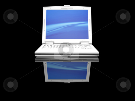 White laptop stock photo, 3D render of a white laptop on a black background by Kirsty Pargeter