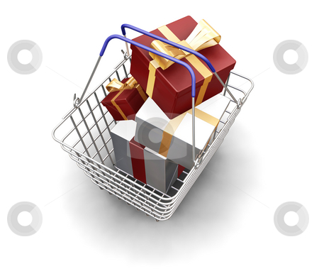Christmas presents stock photo, 3D render of a shopping basket full of Christmas presents by Kirsty Pargeter