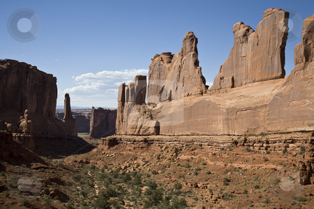 Southwest USA stock photo, Rock Formation along Park Avenue, Arches National Park, Utah, United States by mdphot