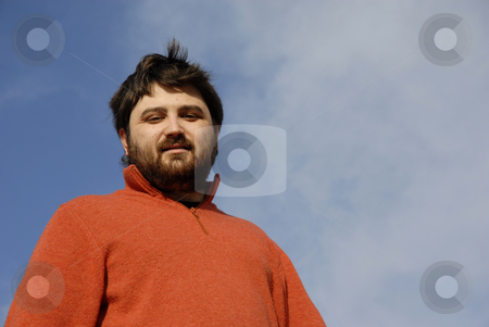 Portrait stock photo, Young casual man with the sky as background by Rui Vale de Sousa