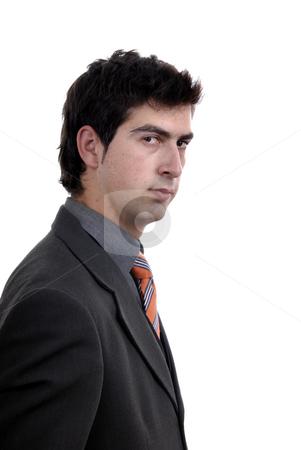 Pensive stock photo, Young pensive man portrait in white background by Rui Vale de Sousa