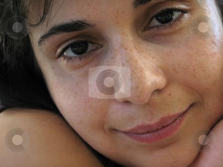 Brunette stock photo, Beautiful young woman face portrait. Close up. by Rui Vale de Sousa