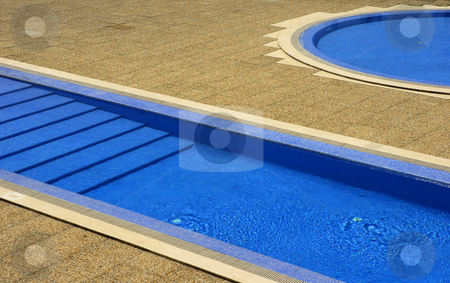 Swimming pool stock photo, Swimming pool blue water in a summer day by Rui Vale de Sousa