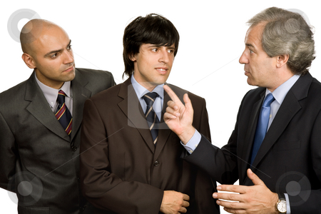 Meeting stock photo, Three business men isolated on white background by Rui Vale de Sousa