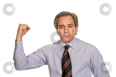 Strong stock photo, Successful business man with arms isolated on white by Rui Vale de Sousa