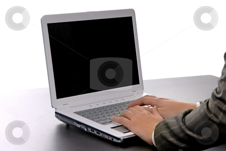 Working stock photo, Woman hands working with computer isolated on white by Rui Vale de Sousa