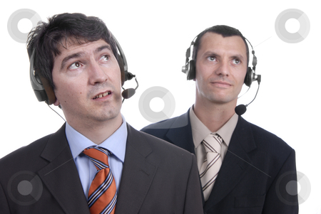 Call stock photo, Two young call center men talking by the phone by Rui Vale de Sousa