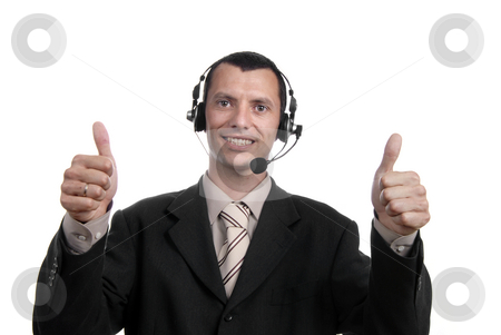 Thumbs up stock photo, Young business man showing thumbs up isolated by Rui Vale de Sousa