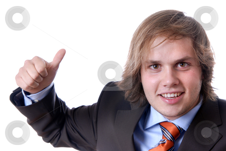 Thumbs stock photo, Young businessman showing thumb up in front of the white background by Rui Vale de Sousa