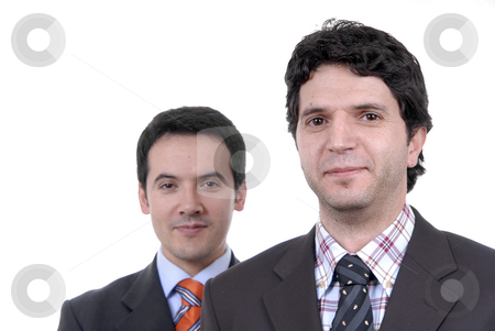 Portrait stock photo, Two young business men portrait on white. focus on the right man by Rui Vale de Sousa