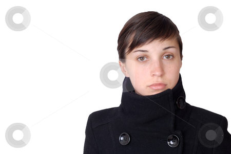 Sad stock photo, Young girl portrait isolated on white background by Rui Vale de Sousa