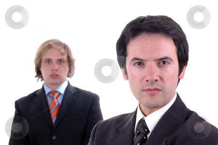Men stock photo, Two young business men portrait on white. focus on the right man by Rui Vale de Sousa