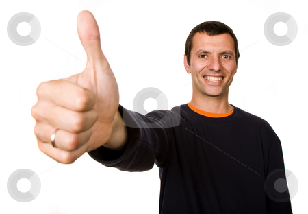 Thumb up stock photo, Young casual man portrait in a white background by Rui Vale de Sousa