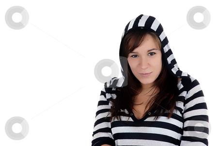 Girl stock photo, Young casual woman standing in a white background by Rui Vale de Sousa