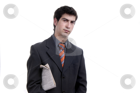 Businessman stock photo, Young businessman with a newspaper isolated on white by Rui Vale de Sousa