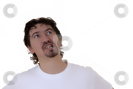 Angry stock photo, Angry young casual man in white background by Rui Vale de Sousa