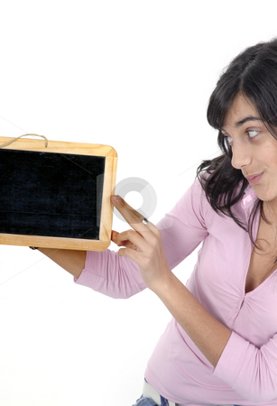 Student stock photo, Young girl with a blackboard in a white background by Rui Vale de Sousa