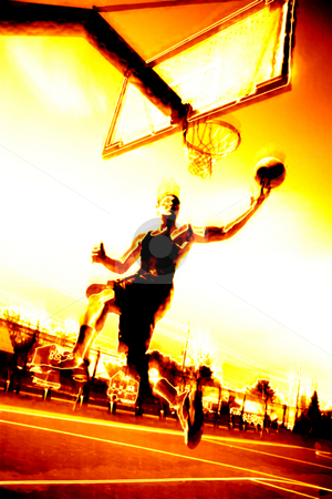 Fiery Basketball Player stock photo, Abstract illustration of a basketball player in flames. by Todd Arena
