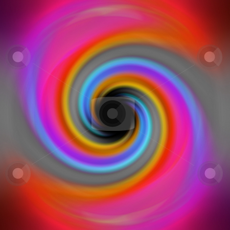 Rainbow Twirl Vortex stock photo, A spiraling rainbow vortex background with a black hole in the center. by Todd Arena