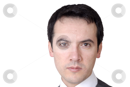 Close stock photo, Young business man portrait in white background by Rui Vale de Sousa
