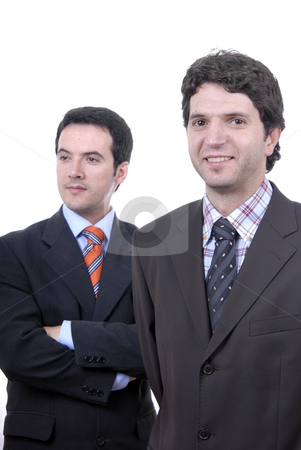 Two young stock photo, Two young business men portrait on white. focus on the right man by Rui Vale de Sousa