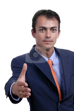 Shake stock photo, Young man in suit offering to shake the hand by Rui Vale de Sousa