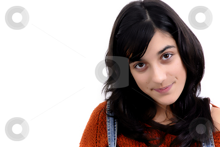 Girl stock photo, Young casual woman portrait in white background by Rui Vale de Sousa