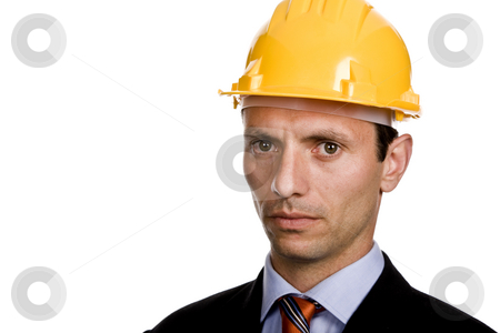 Helmet stock photo, An engineer with yellow hat, isolated on white by Rui Vale de Sousa